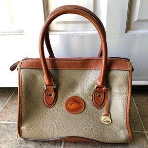 Dooney & Bourke Vintage Brown Gray Leather Satchel
